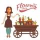 Cheerful Woman Near Wagon with Flowers