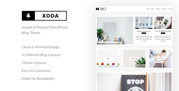 XoDa – Simple & Minimal WordPress Blog Theme (Personal) images