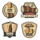Colorful Vintage Brewing Emblems Set