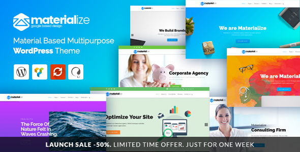 Materialize – Material Design Multipurpose WordPress Theme (Business) images