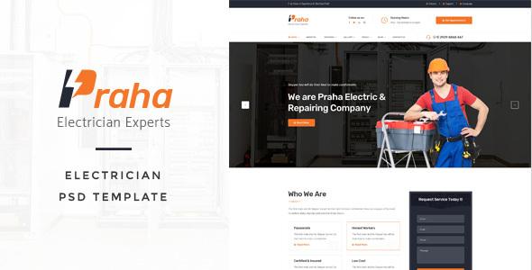 Praha - Electrician Experts PSD Template