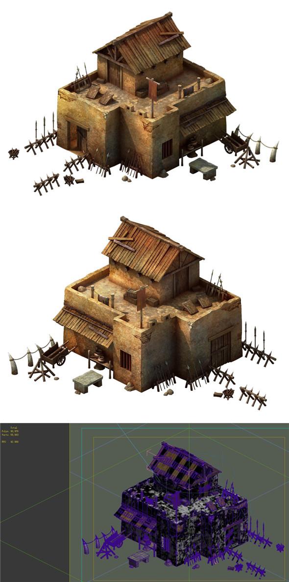 Desert Gobi - cottage weapons room - 3DOcean Item for Sale