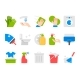 Flat Cleaning Set Icons. Cleaning Tools