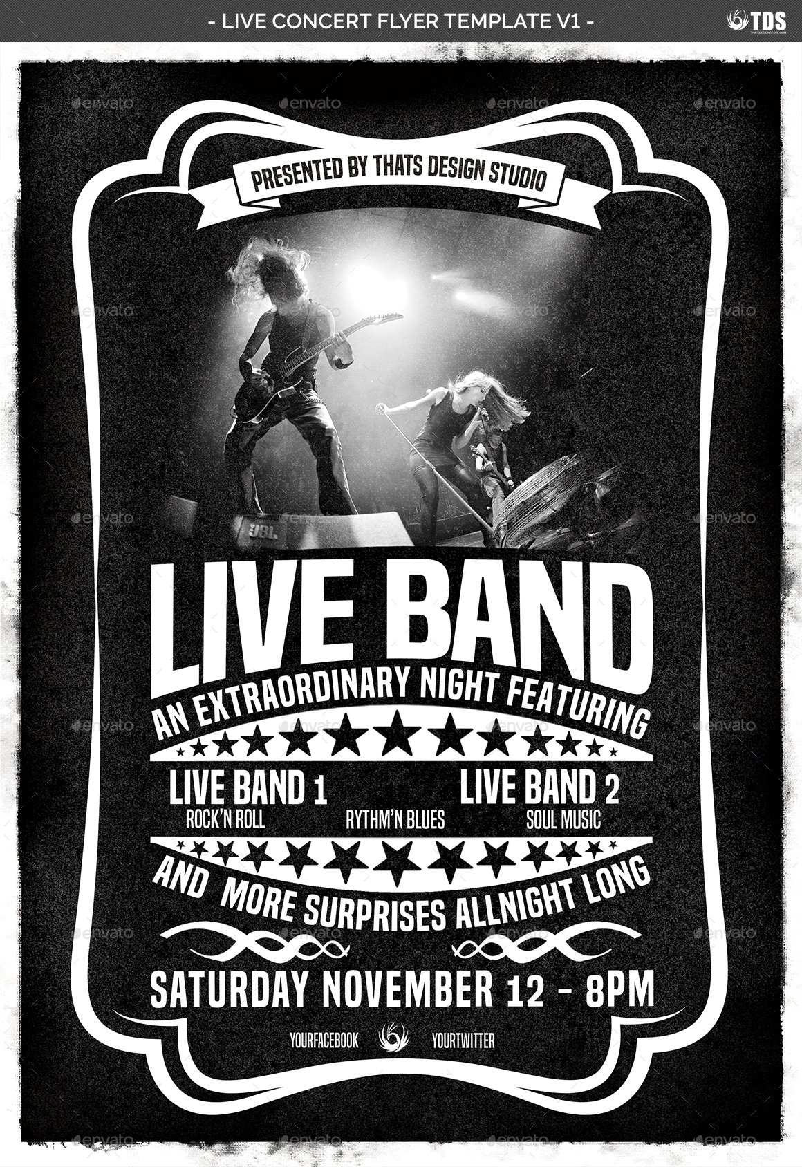 Live Concert Flyer Template V1 by lou606 – Band Flyer Template