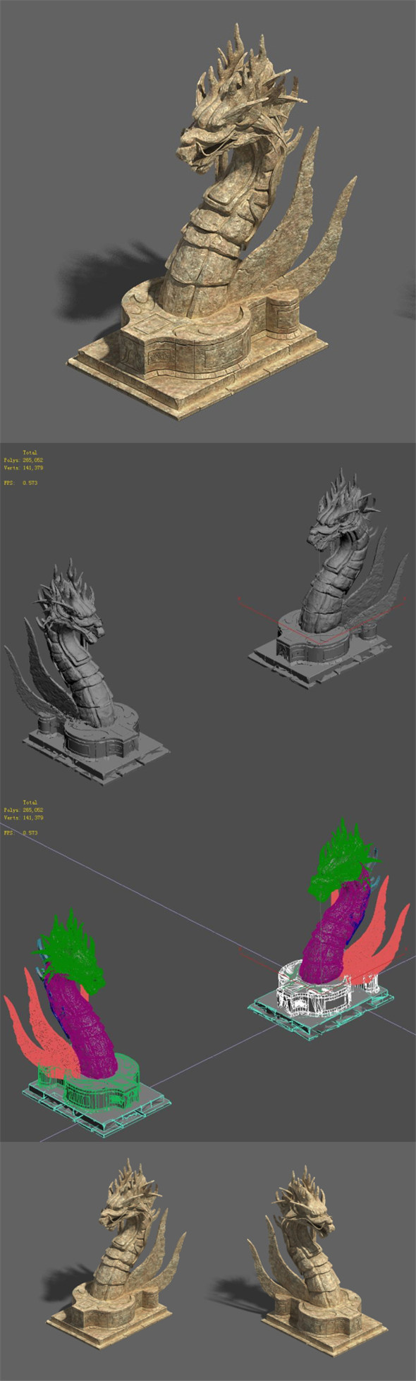 Desert - stone dragon guardian beast - 3DOcean Item for Sale
