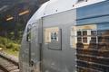 Flam train wagon in Norway. Norwegian tourism highlight. Railway station