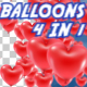 Balloons Hearts Pack 4 in 1