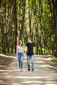 Couple taking a walk in the forest