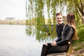 Happy inlove couple in the park