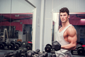 Active bodybuilder exercising in the gym