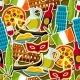 Italy Seamless Pattern. Italian Sticker Symbols