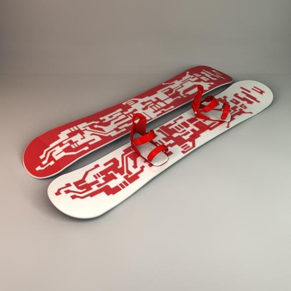3DOcean Snowboard & Bindings 1938981