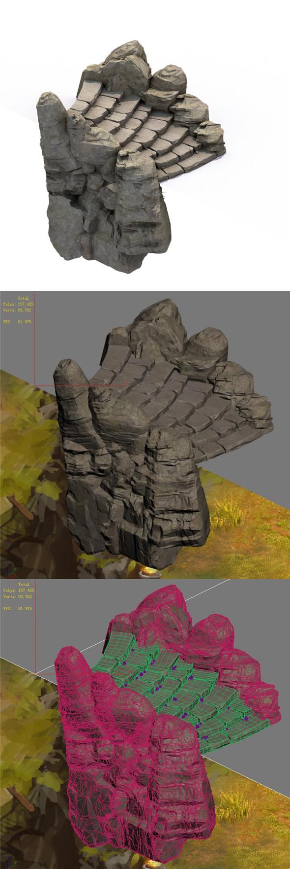 Mountain - terrain stone staircase 04 - 3DOcean Item for Sale