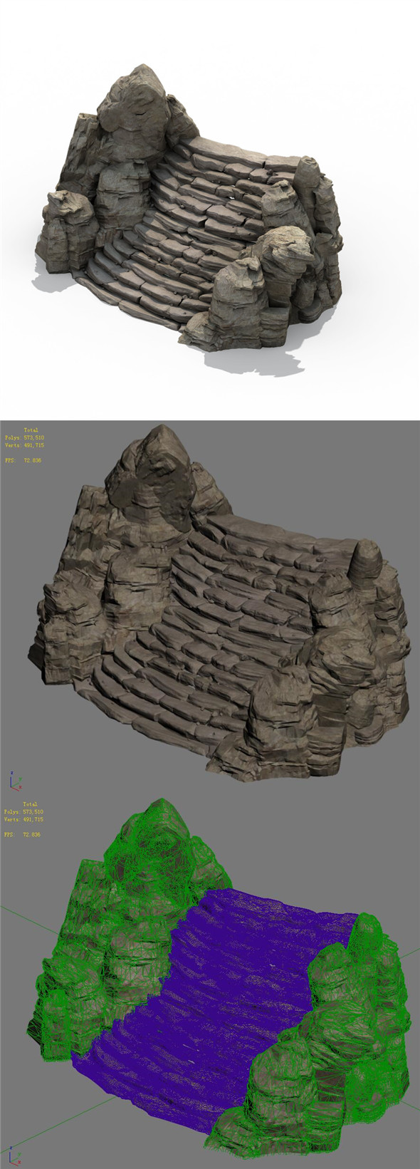 Mountain - terrain stone stairs 06 - 3DOcean Item for Sale