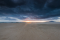 Cloudscape over beach and ocean in Spain, before storm