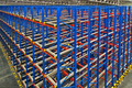 Warehouse storage inside shelving metal pallets