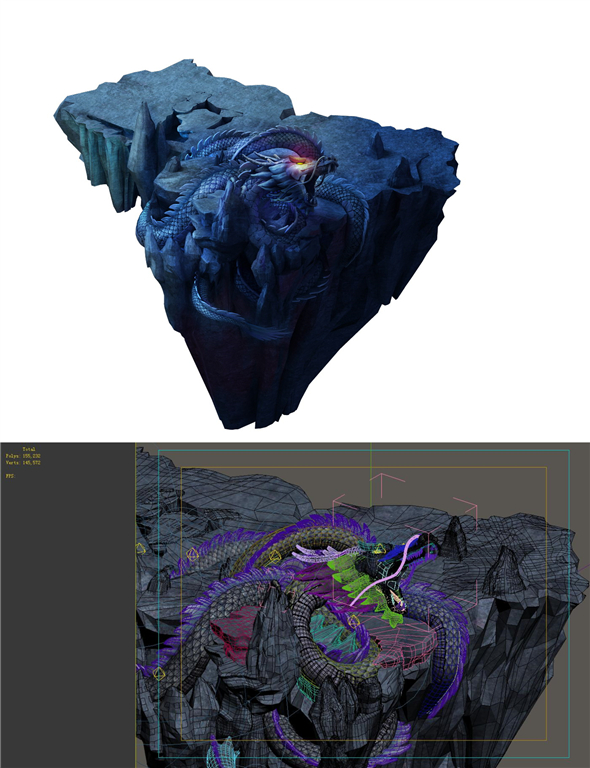 Game Model - Stone Carving - Dragon - 3DOcean Item for Sale
