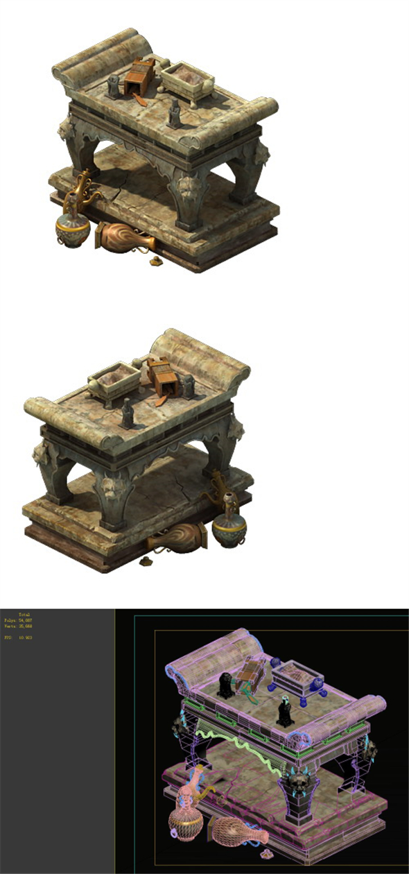 Game model - stone for the table - 3DOcean Item for Sale