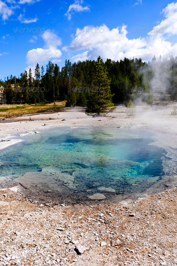 Crater Spring, Yellowstone National Park - Stock Photo - Images