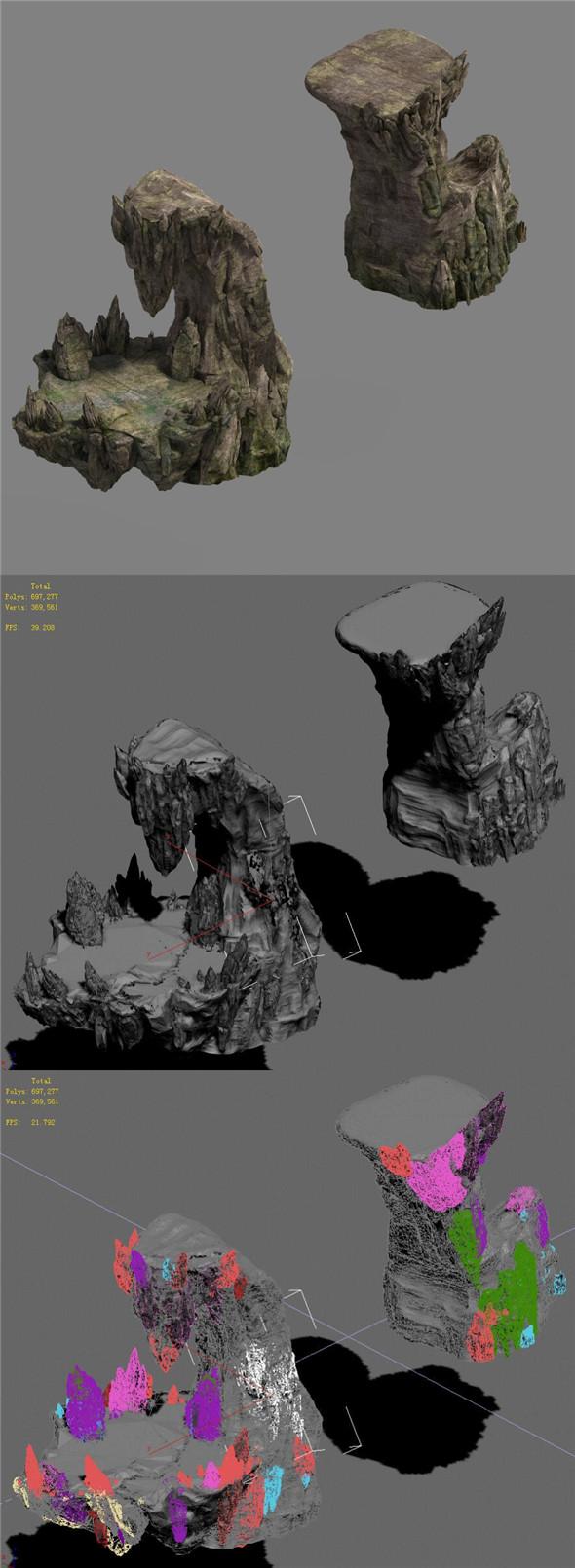 Shushan - rugged rocks - 3DOcean Item for Sale