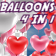 Colorful Valentines Heart Balloons 4 in 1