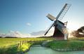 Dutch windmill at summer sunrise