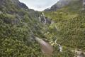 Flam train ascent in Norway. Norwegian mountain landscape. Tourism. Horizontal