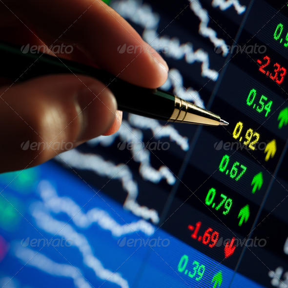 hand and pen pointer, chart - Stock Photo - Images