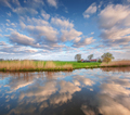 Colorful blue sky with clouds reflected in wate