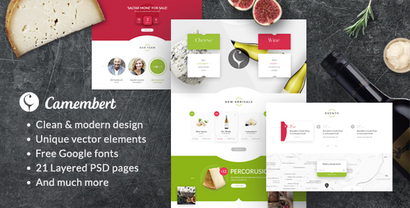 Camembert - Wine Restaurant & Cheese Shop PSD Template
