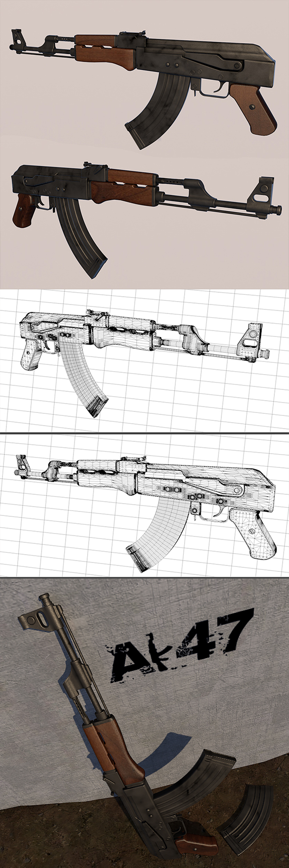 3DOcean AK47 Full textures and edition 19815848