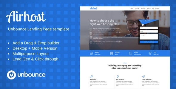 Multi-Objective Template with Unbounce Web page Builder – Airhost (Unbounce Landing Pages)