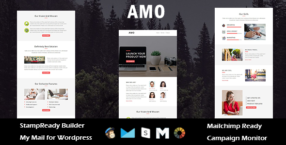 AMO – Multipurpose Responsive E mail Template with Stamp Prepared Builder Access (E mail Templates)