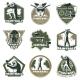 Colorful Vintage Active Leisure Emblems Set