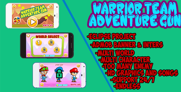 CodeCanyon Warrior team Adventure Gun eclipse project With Admob 19820626