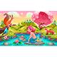 Fantasy Scene with Mermaid and Animals