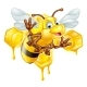 Cartoon Bee and Honey