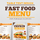 Fast Food Table Tent