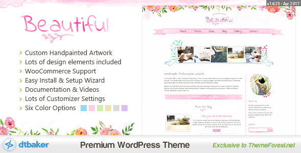 Beautiful Floral Watercolor - Blog & Shop - This is a custom hand painted creative WordPress theme. It comes with a great set of easy to use features and configuration options.
