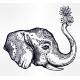 Decorative Profile Elephant Profile with Flowers.