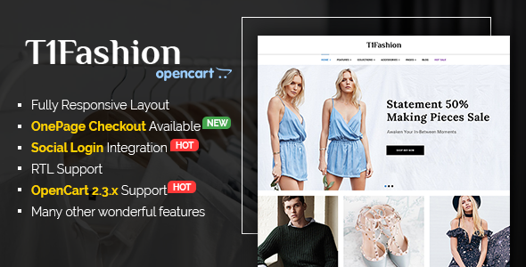 T1Fashion – Responsive Style OpenCart two.three Theme (Purchasing)