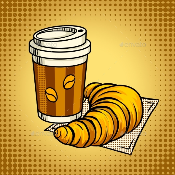 Coffee and Croissant Pop Art Vector Illustration