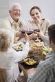 Family raising glasses with wine