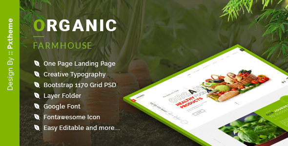 Organic Farmhouse One Page PSD Template