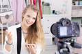 Elegant girl and video journal