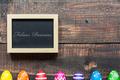 Colorful eggs and blackboard