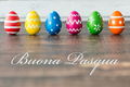 Easter eggs on rustic table