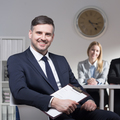 Smiling man on job interview