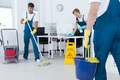 Busy professional cleaners