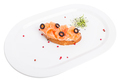 Bruschetta with salted salmon and olives.